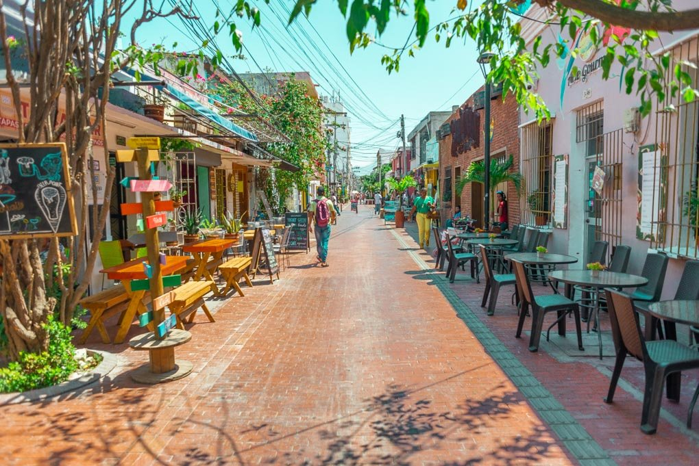 The main walking street in Santa Marta Colombia on a quiet morning.