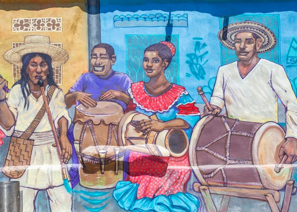 Graffiti of African musicians on a wall in the center of Santa Marta, Colombia