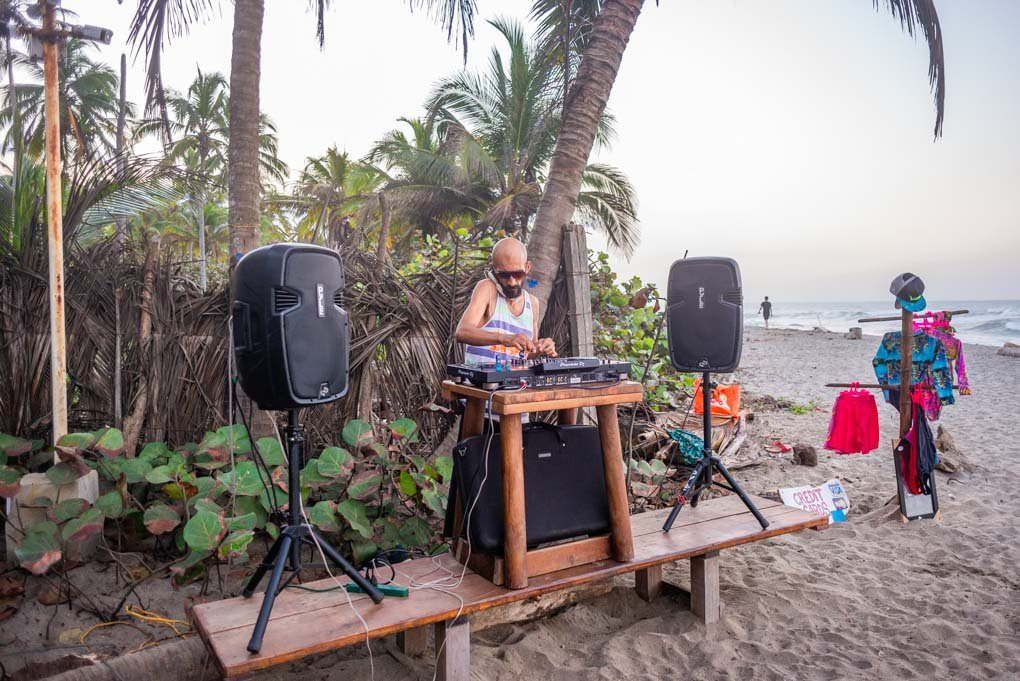 A dj plays on Costeño Beach, Colombia