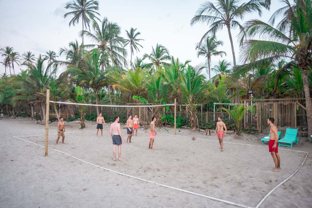 Playing Volleyball at Costeño Beach Hostel
