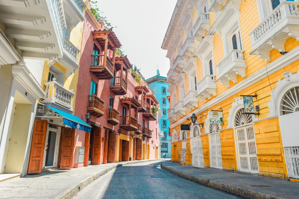 A Beautiful street in the old town of Cartagena, Colombia