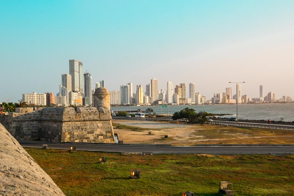 The view of Bocogrande from the fort wall at sunset in Cartagena, Colombia