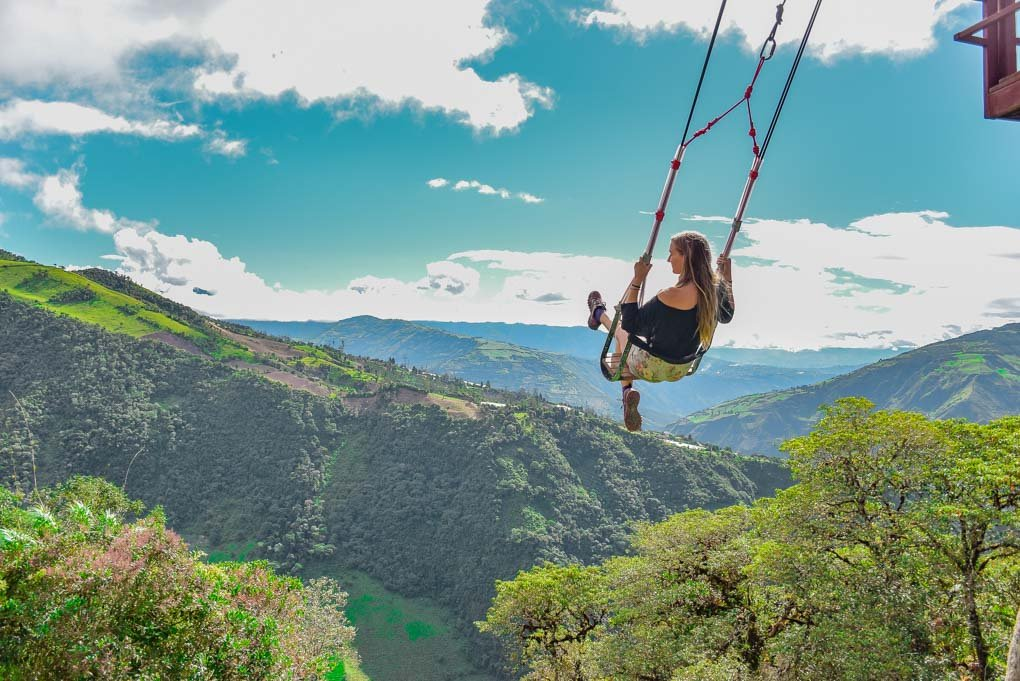 Bailey on the Swing at the end of the World in Banos, Ecuador