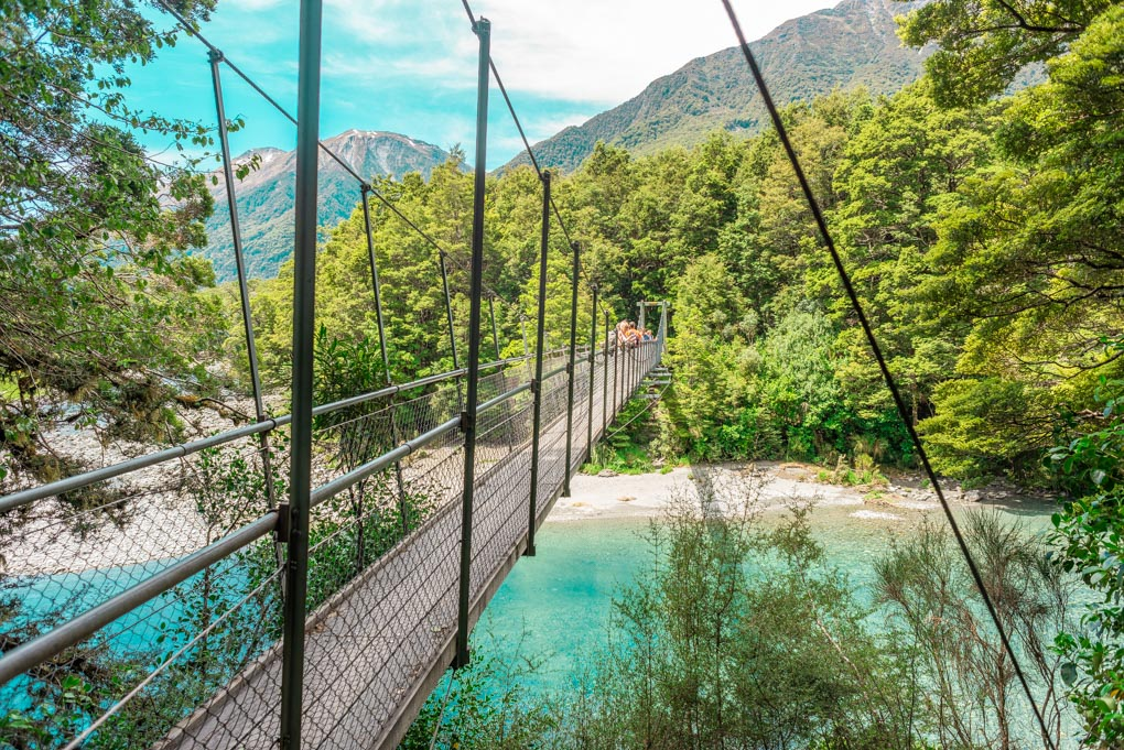 One of the suspension bridges at the Blue Pools on the West Coast of NZ