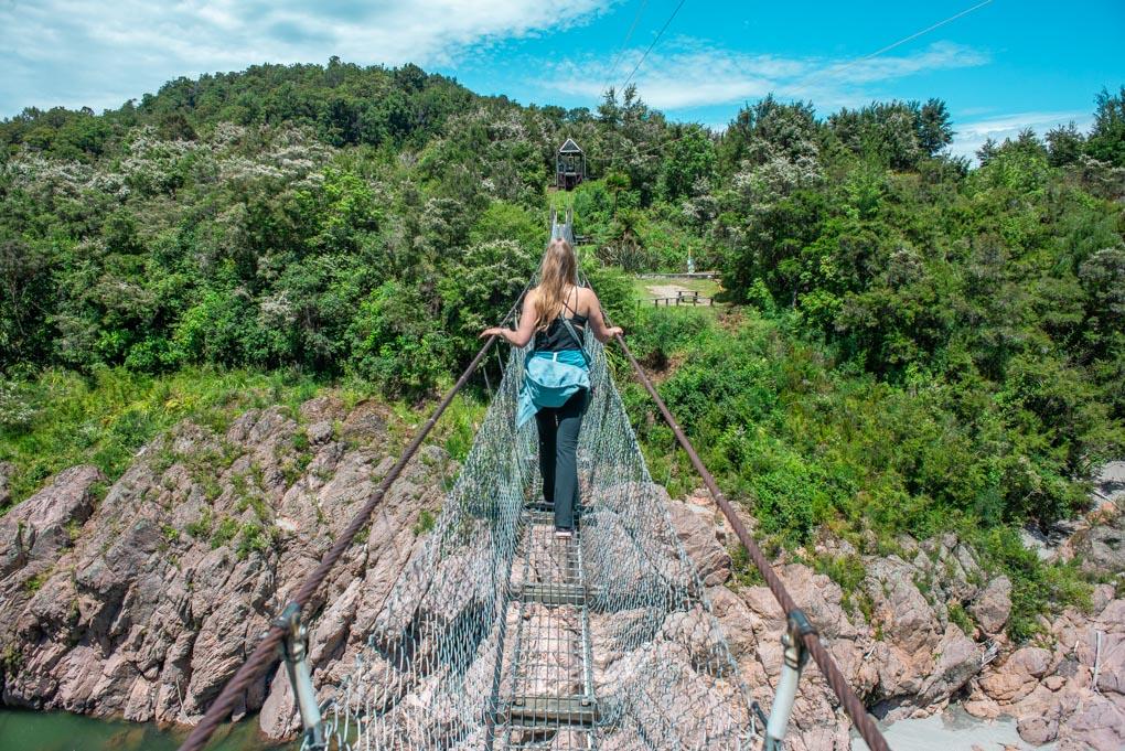 Bailey crosses the Buller Gorge Swing Bridge