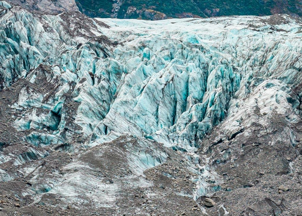 A close up of the Fox Glacier taken from the Fox Glacier Valley Walk