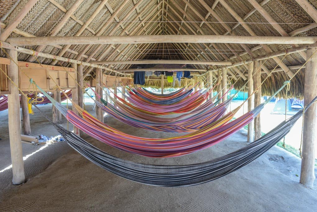 The hammocks at Cabo San Juan in Tayrona, Colombia