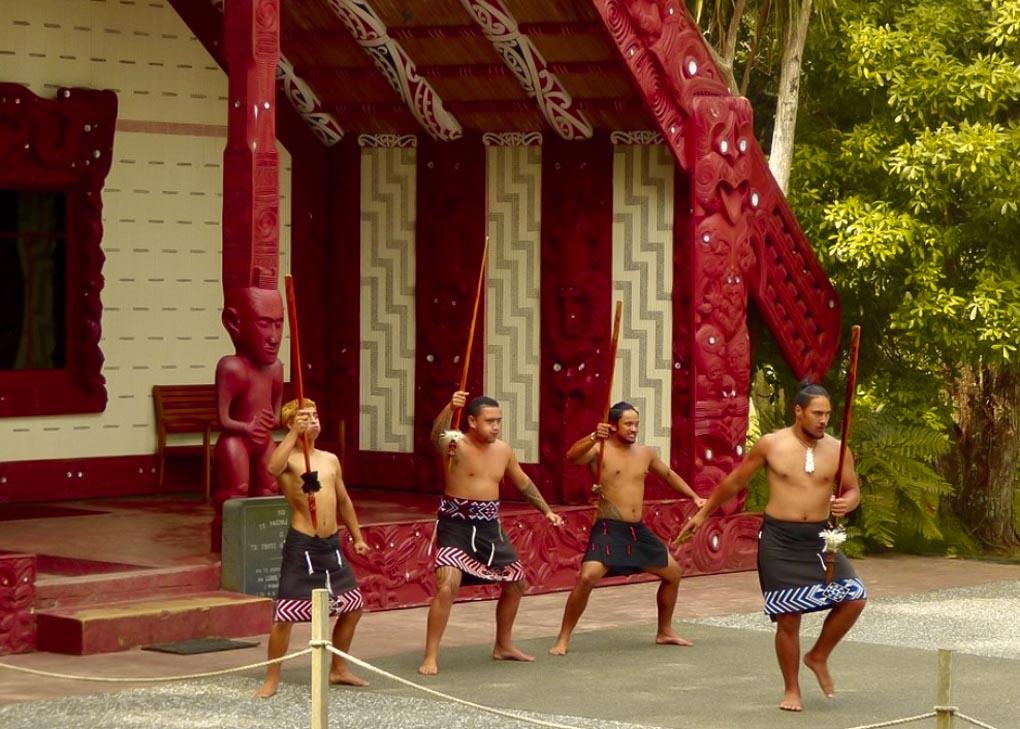 Maori warriors dance at the Waitangi Treaty Grounds
