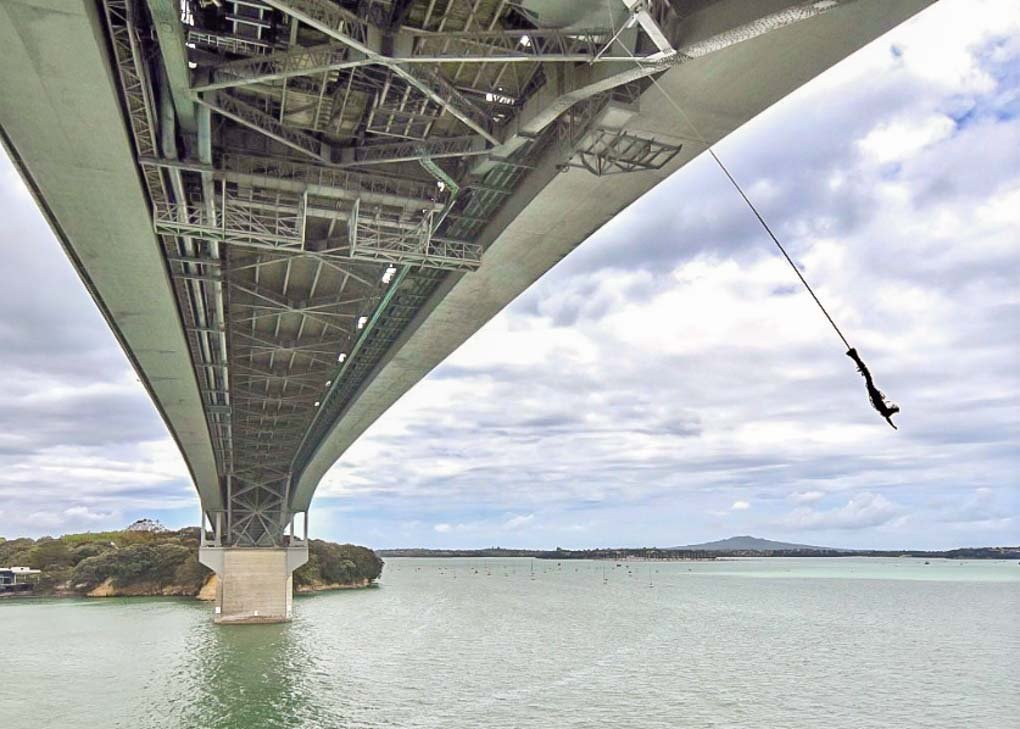 Aj Hacket bungy off the bridge in Auckland