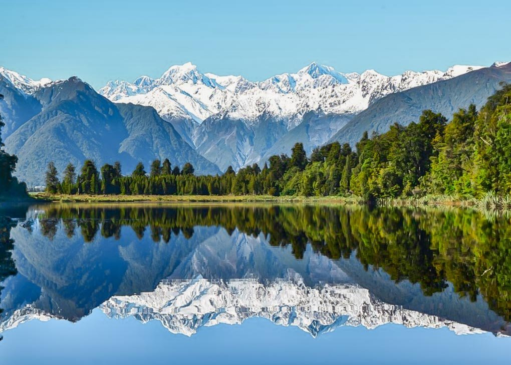 Beautiful reflections at Lake Matheson on the west coast of NZ