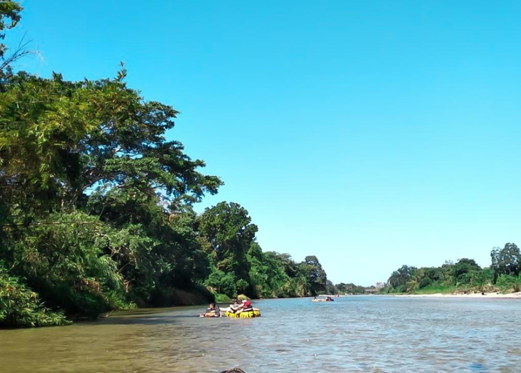 Tubign in the El Buritica River near Costeno Beach, Colombia