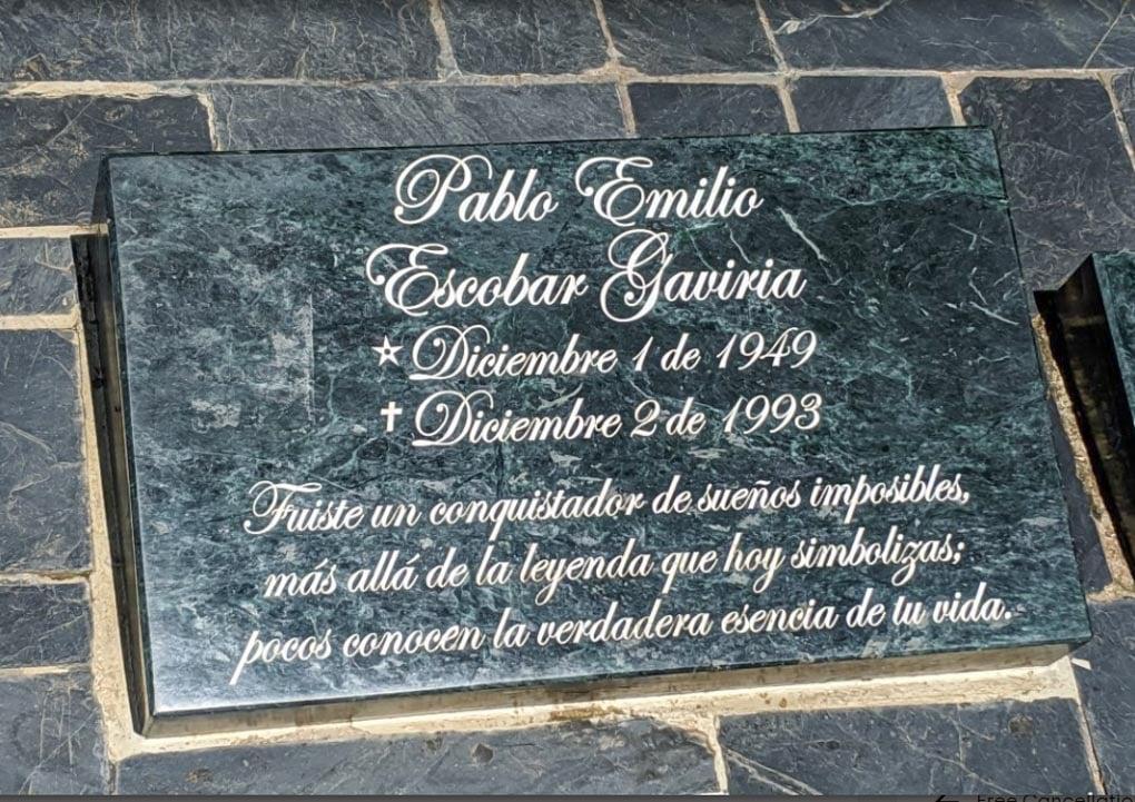 Pablo Escobars grave in Medellin, Colombia