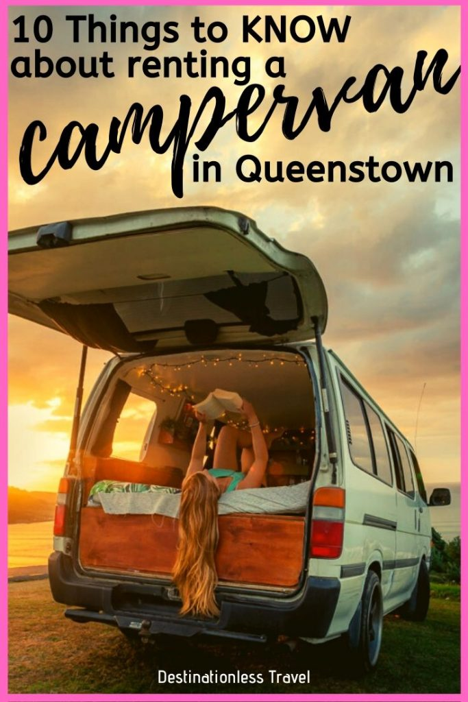 renting a campervan in queenstown pinterest image