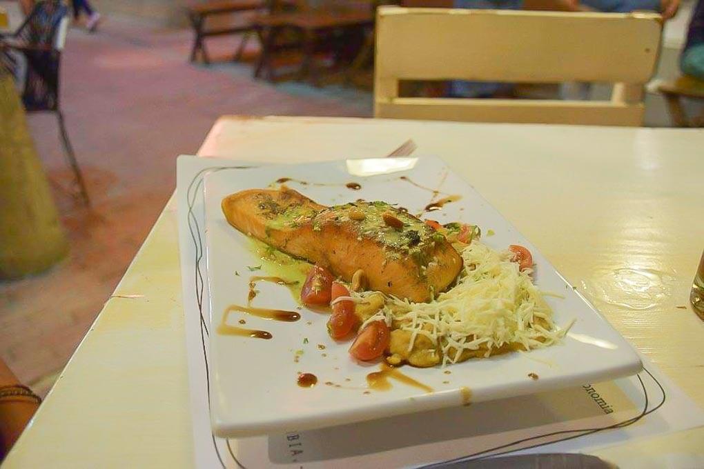 Salmon at Lamart restaurant in Santa Marta