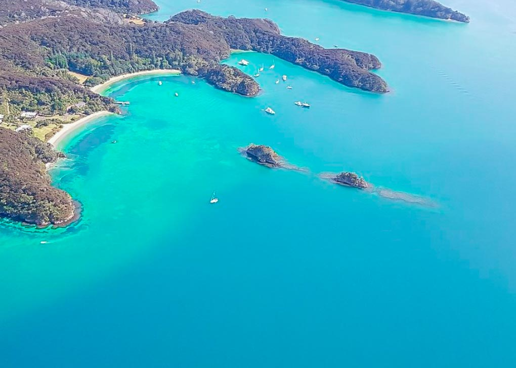 Views of the Bay of Islands from a scenic flight