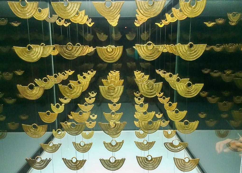 Gold artifacts in the gold museum of Cartagena