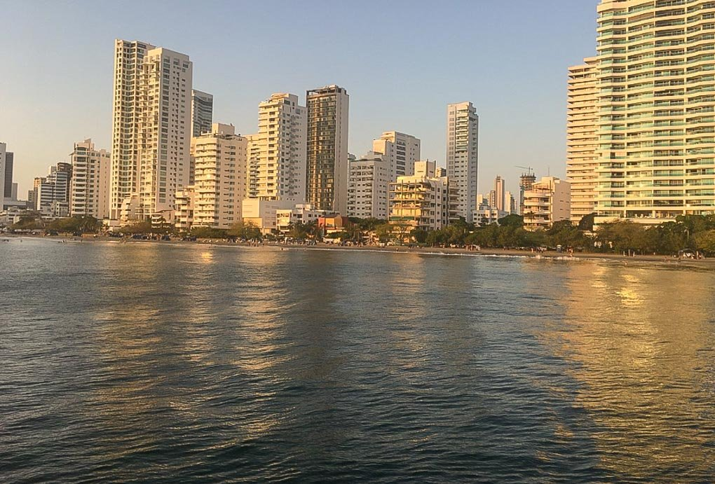 View of the city from a sunset cruise in Cartagena Colombia