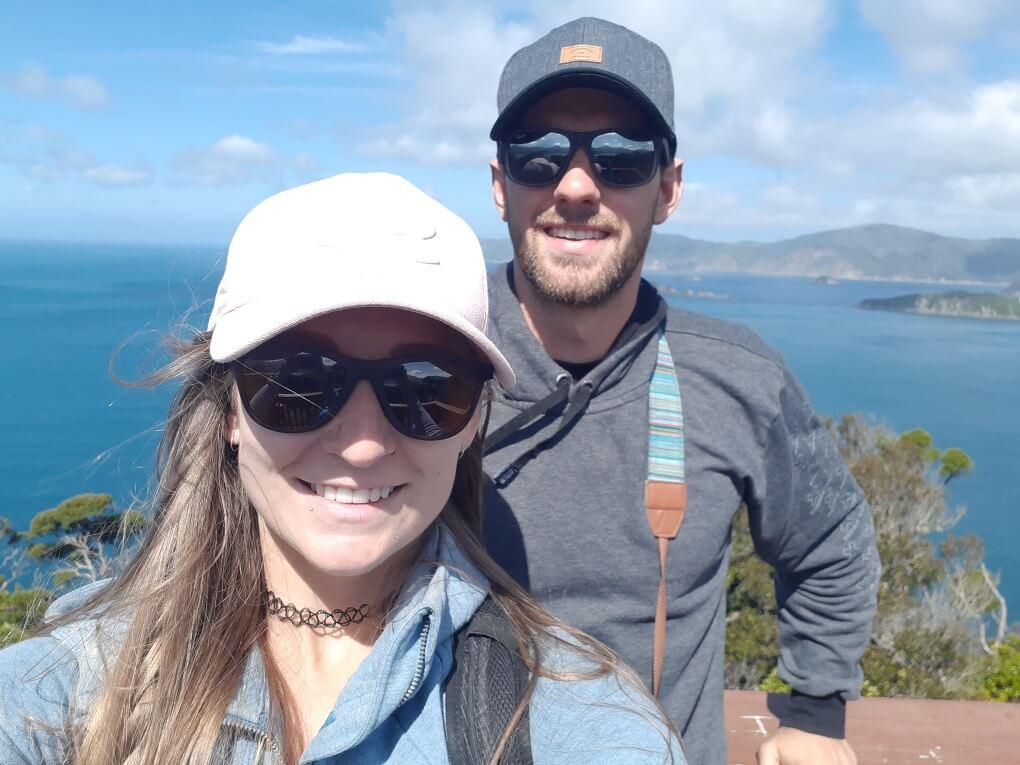selfie of daniel and bailey on new zealand's west coast