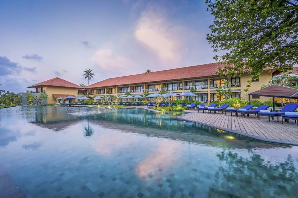 The pool and hotel at the Anantara Kalutara Resort in Sri Lanka