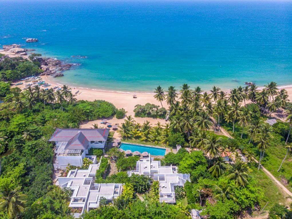 Birds eye view of the Calamansi Cove Villas in Sri Lanka