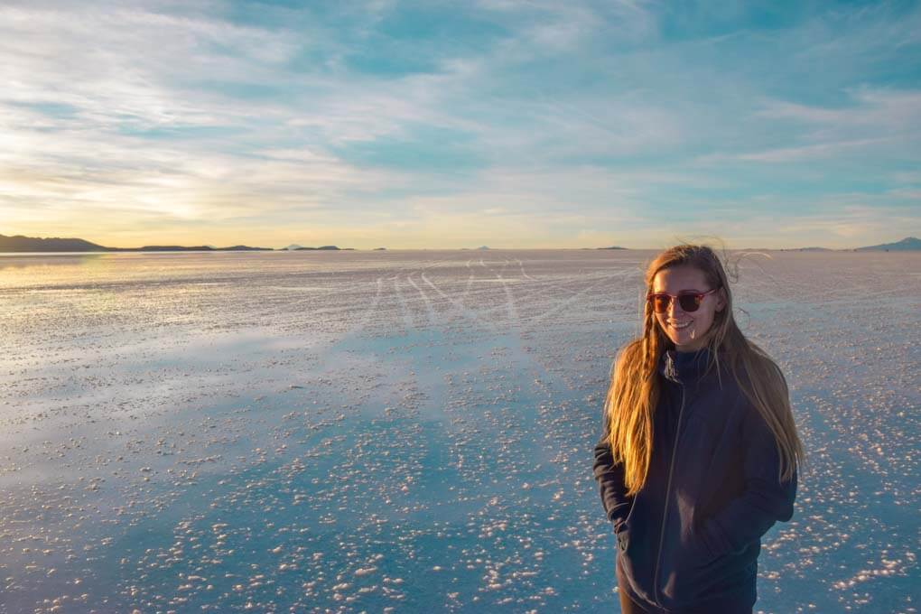 Baley laughs at the camera while we watch the sunset on the salt flats on our first night