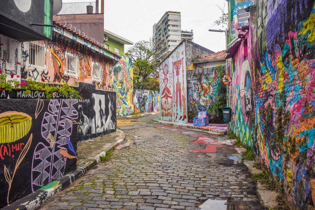 A colorful street in Vila Madalena in Sao Paulo