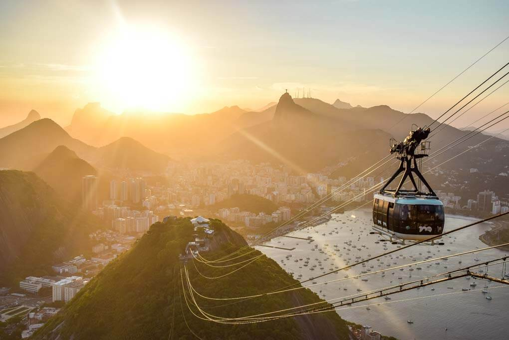 The gondola on Sugar Loaf Mountain in Rio de Janiero at sunset