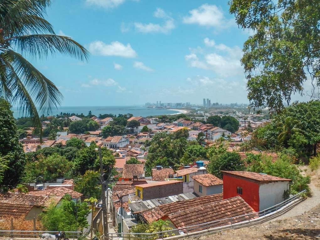 A view of the old city of Olinda with the new city of Recife in the background
