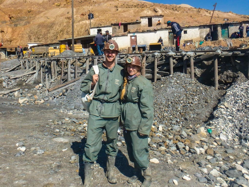 Daniel and Bailey pose for a photo outside the mines in Potosi, Bolivia