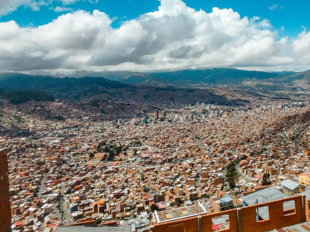The city of La Paz from above.