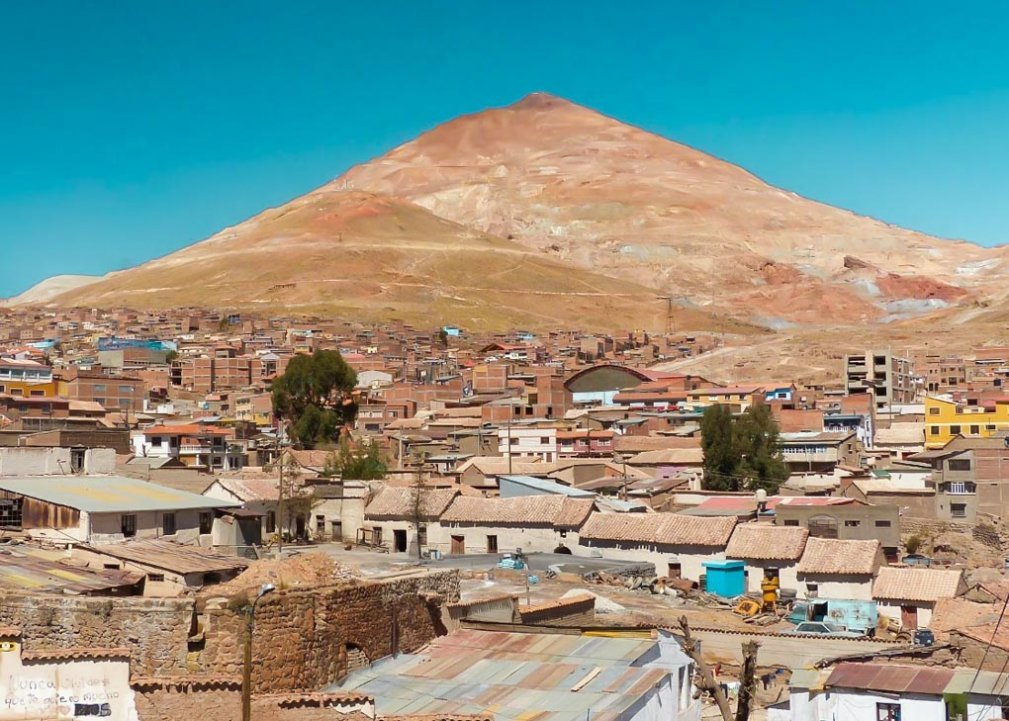Cerro Rico sits in the background of the city of Potosi, Bolivia
