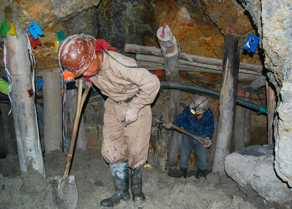 Two workers in the mines in Potosi, Bolivia
