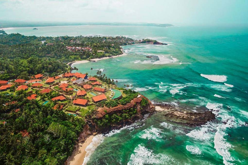 A birds eye view of the  Cape Weligama resort and hotel in Sri Lanka
