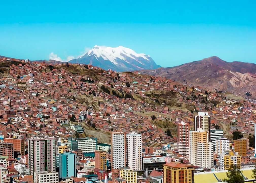 The city landscape of La Paz, Bolivia