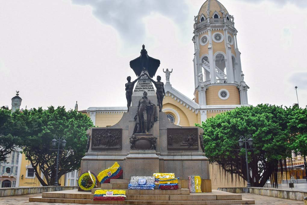The statue of Simon Bolivar at Plaza Bolivar in Panama City, Panama