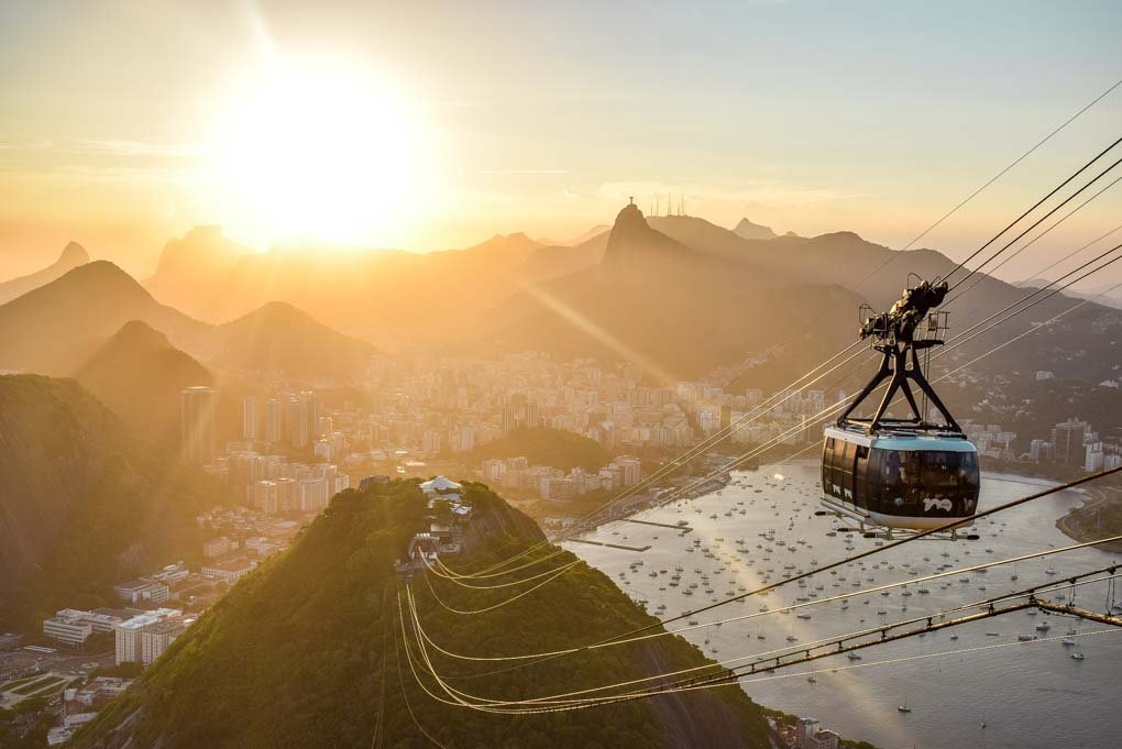 A sunset view from Sugar Loaf Mountain with the gondola in view