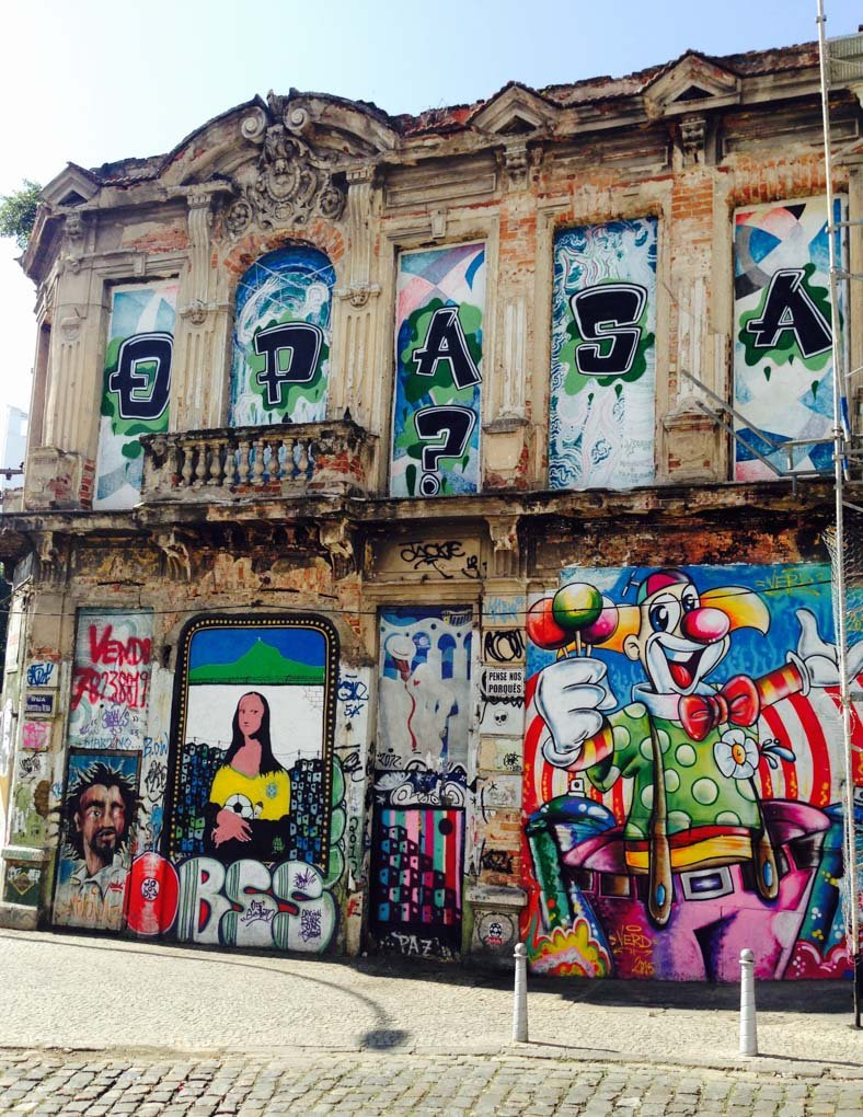 Street art in Lapa on an old building