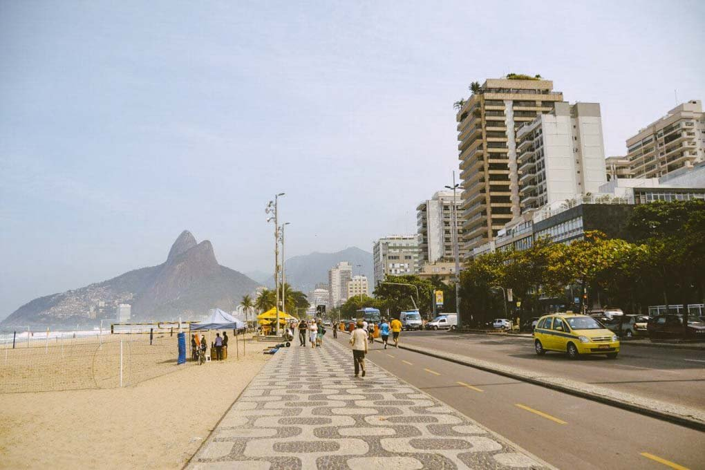 The boardwalk at Ipanema Beach