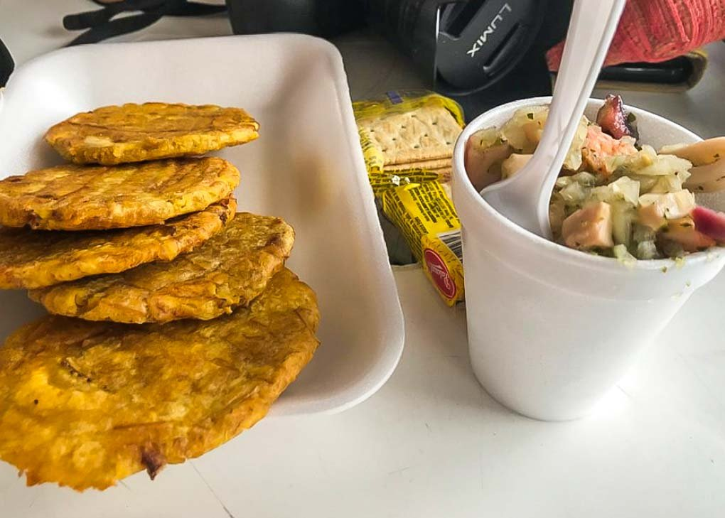 Ceviche and plantains on our food tour in Panama City, Panama