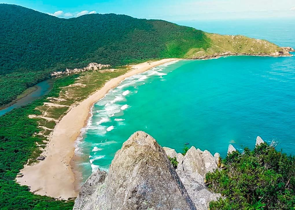 The views of Lagoinha do Leste from the beaches viewpoint hike in Florianopolis, Brazil