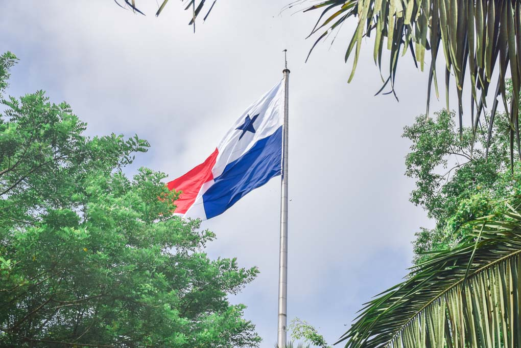 The Panama Flag flies on a pole in the countries capital
