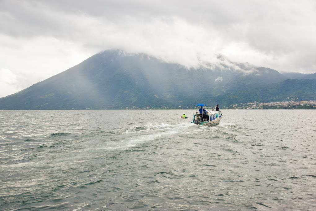 water taxi cruising on Lake Atitlan
