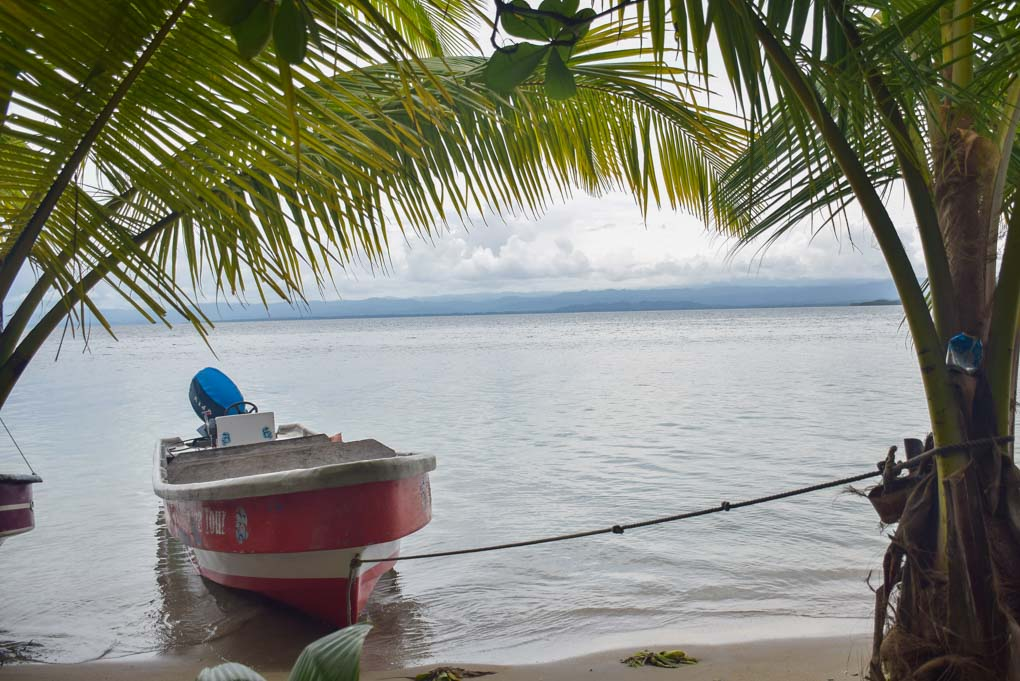 A water taxi sits at Starfish Beach in Bocas del Toro, Panama