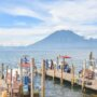 view of the lake and volcano at San Marcos, Lake Atitlan