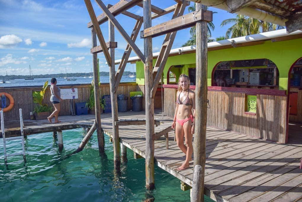 Bailey at the Aqua Lounge Bar in Bocas del Toro, Panama