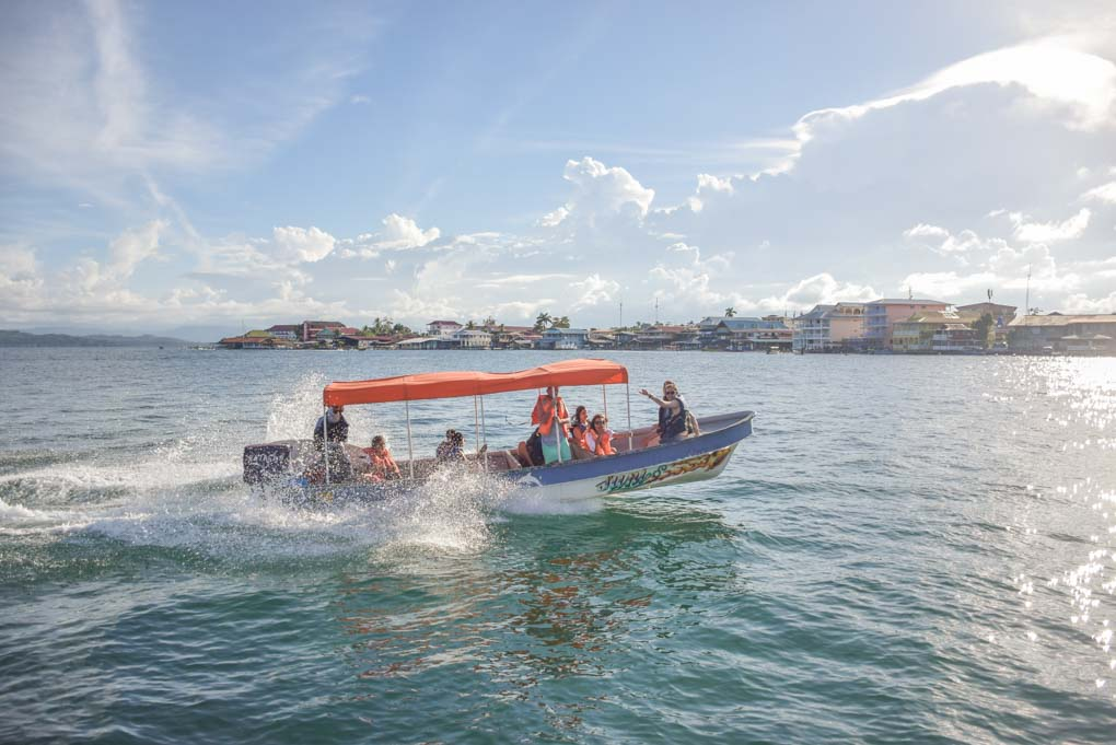 A boat taxi takes travelers around bocas del Toro