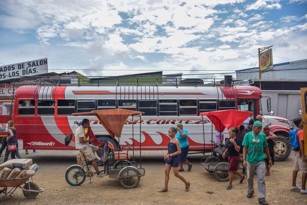 A chicken bus in Central America used to cross from Panama to Costa Rica