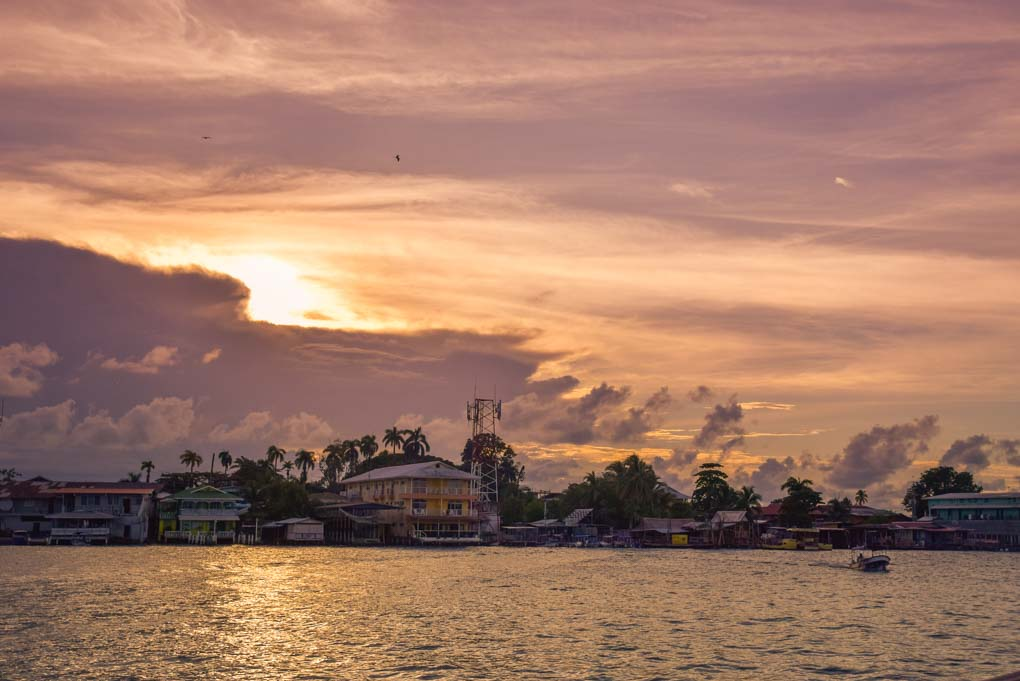 A magical sunset from the Aqua Lounge in Bocas del Toro, Panama