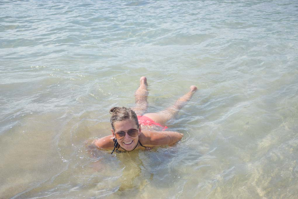 Bailey swimming in Cahuita National Park