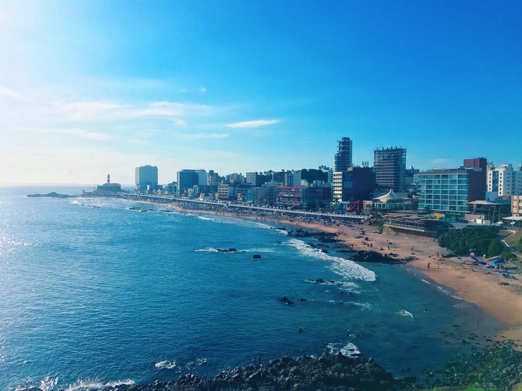 view of barra beach in Salvador, brazil